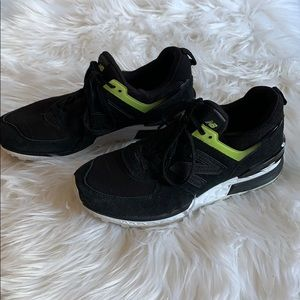Black Suede New Balance 574 Sport Sneakers